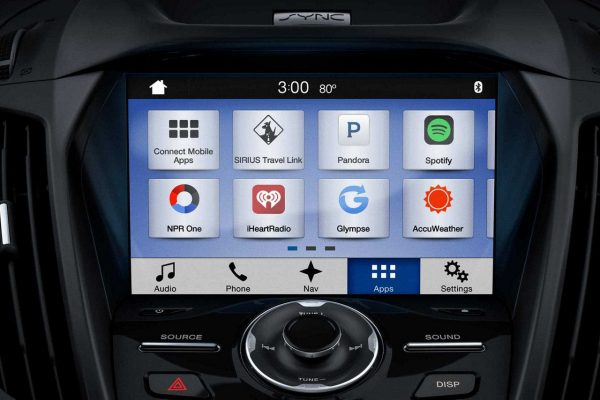 Ford SYNC system closeup on screen with apps