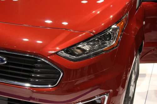 close up on the head light of the 2019 Ford Transit Connect Wagon at the Chicago Auto Show