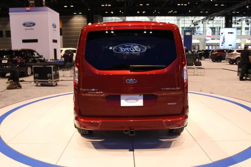Rear profile of the 2019 Ford Transit Connect Wagon at the Chicago Auto Show