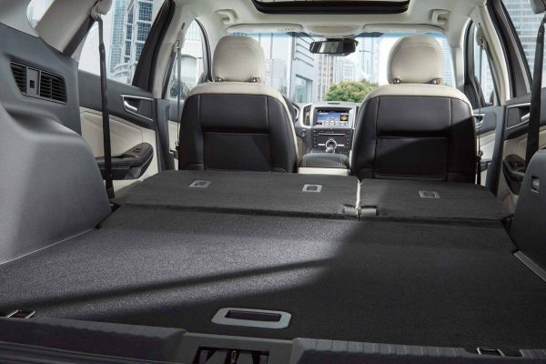 Interior cargo space of the 2018 Ford Edge with the second row folded down