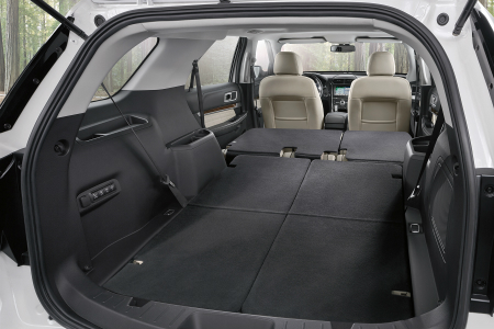 Rear Cargo Space Of  Ford Explorer With Third And Second Row Seats Folded Down
