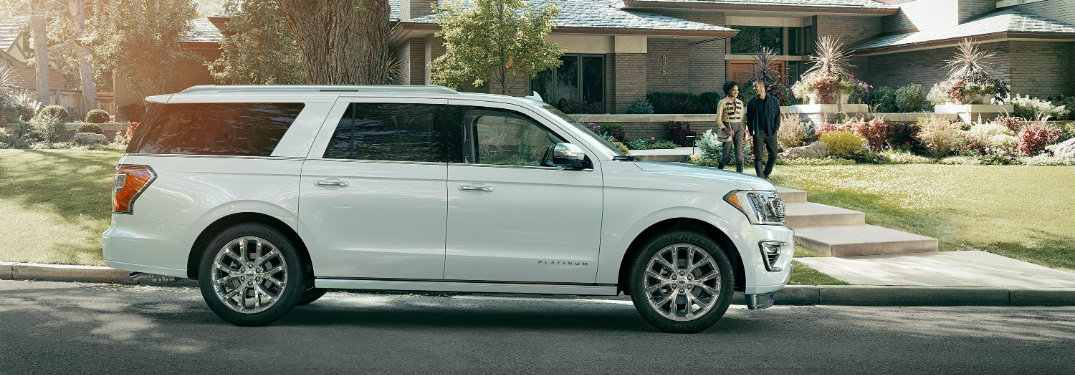 side view of white 2018 ford expedition