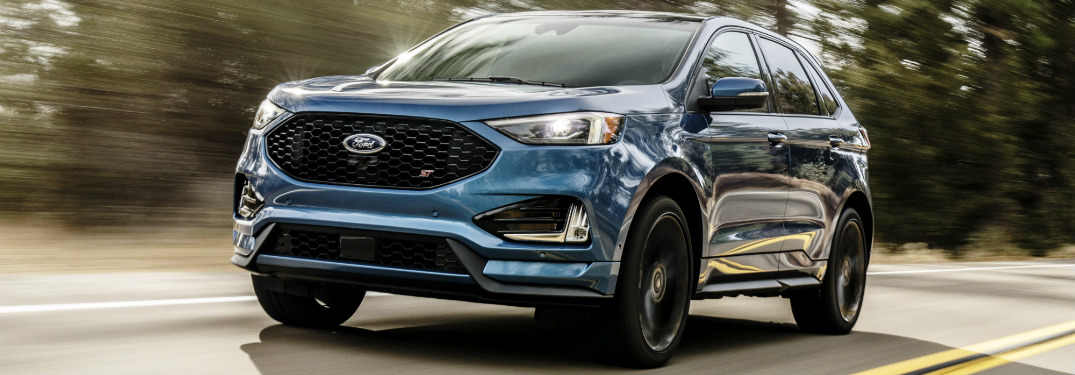 front and side view of blue 2019 ford edge st