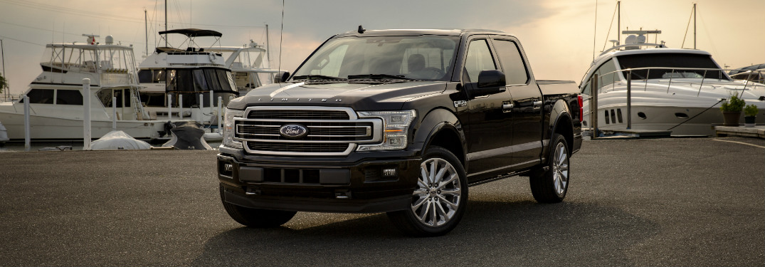 front and side view of black 2019 ford f-150