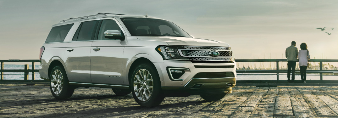 front and side view of silver 2019 ford expedition
