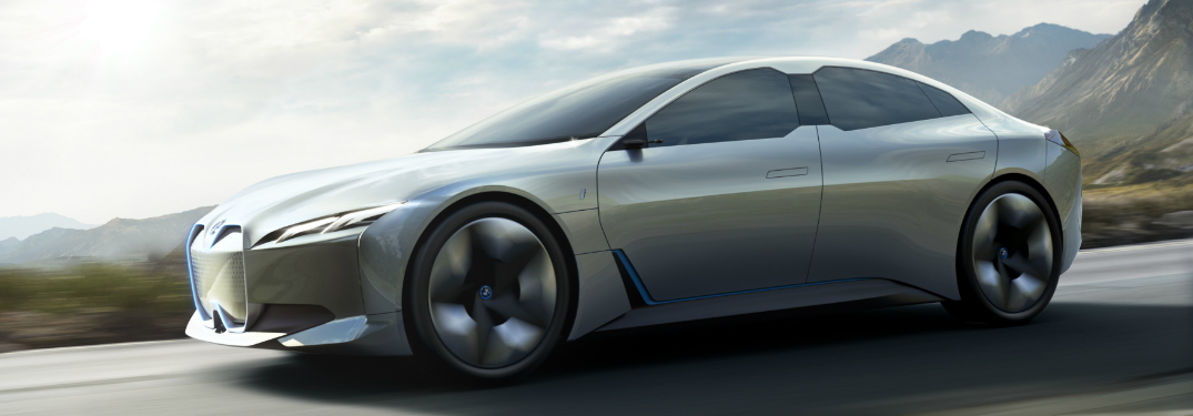 Silver BMW i Vision Dynamics Driving on Mountainous Road