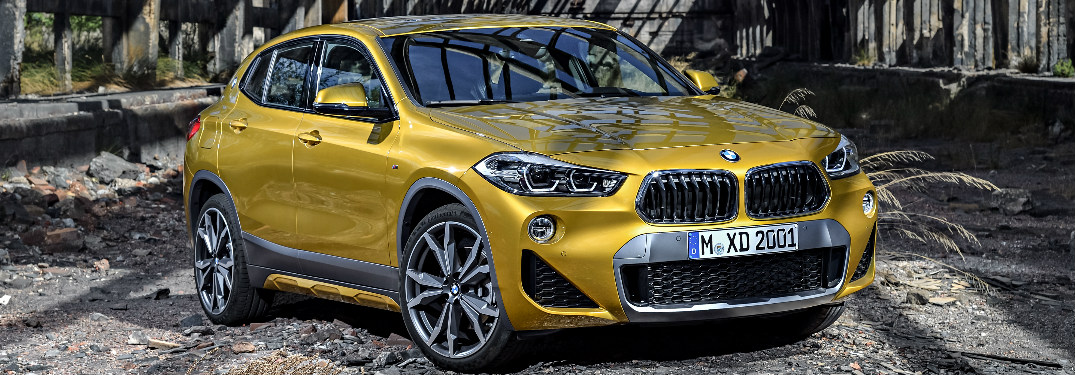 Front View of Yellow 2018 BMW X2 in an Abandoned Building