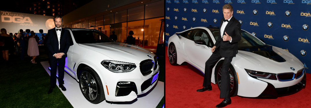 Judd Apatow and David Hasselhoff Posing next to BMW Vehicles at the 2018 DGA Awards