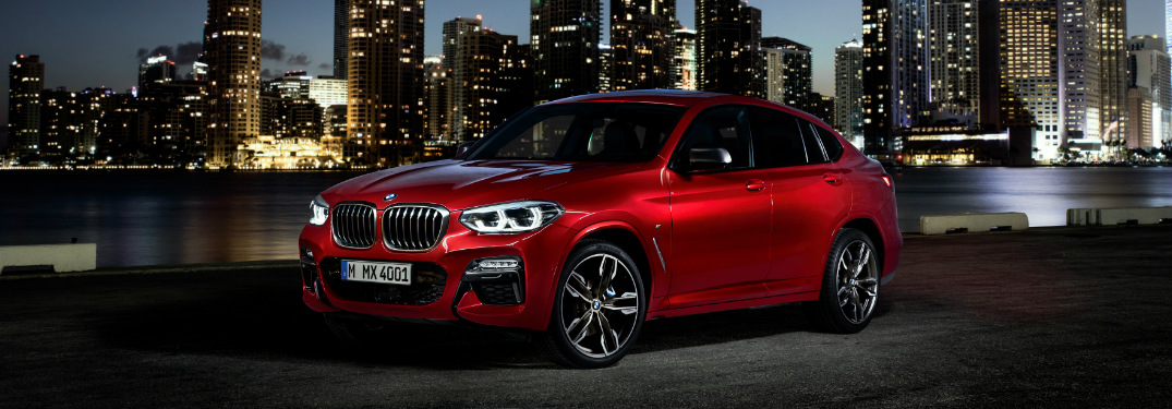 Red 2019 BMW X4 with a City Skyline in the Background