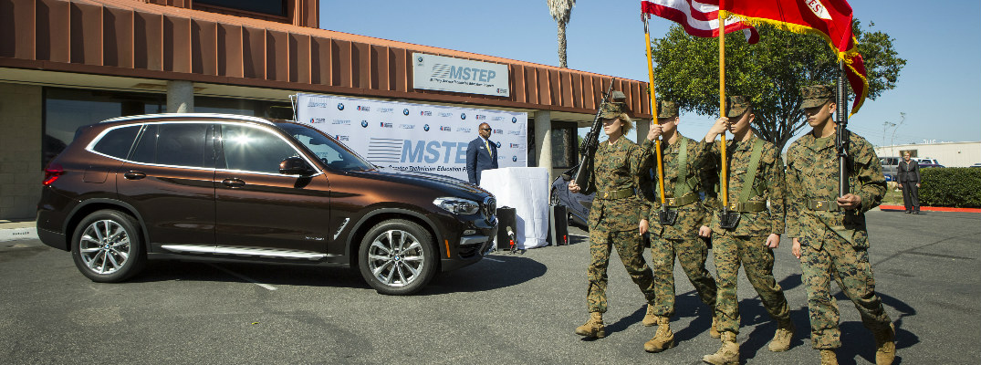 US Marines Marching by a BMW SUV at Camp Pendleton