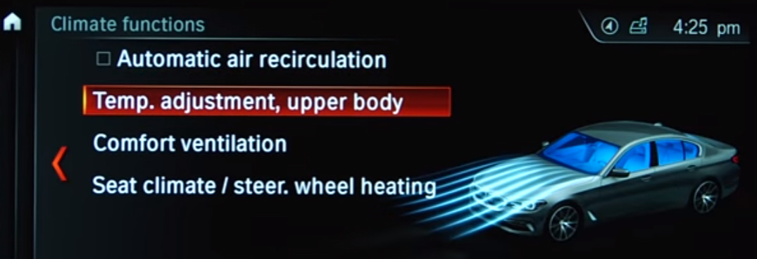 List of Climate Control Functions on the Monitor of a BMW Vehicle
