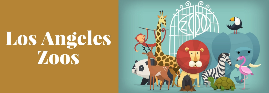 Los Angeles Zoos Title and a Drawing of Many Animals