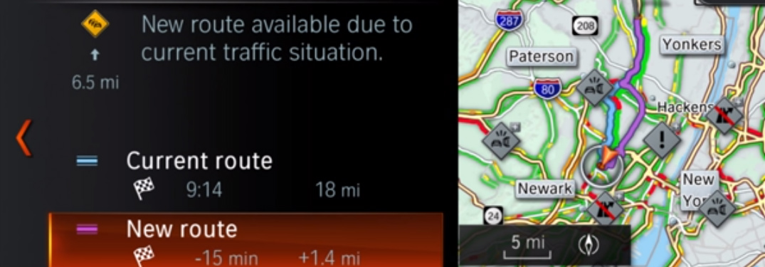 Map and Route Information on BMW Navigation System