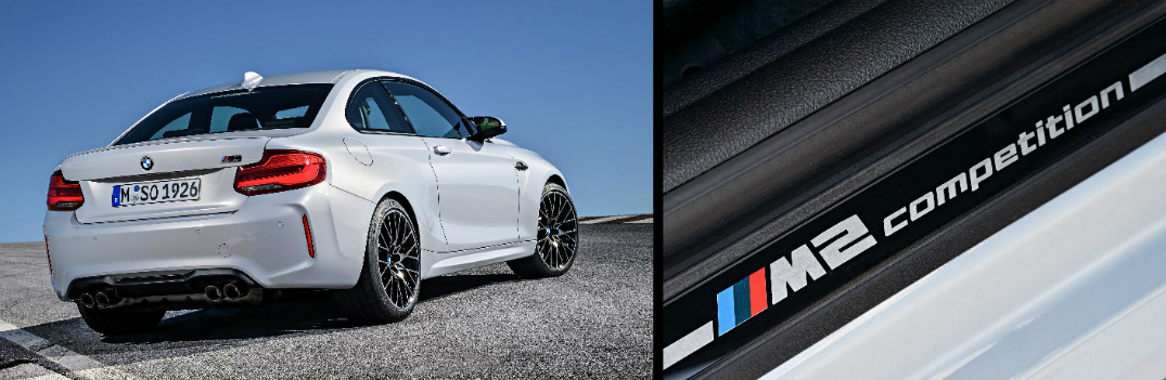 Rear View of White 2019 BMW M2 Competition and M2 Competition Logo on the Doorsill
