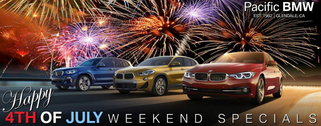 Pacific BMW 4th of July Weekend Specials Title, Three BMW Vehicles, and Fireworks