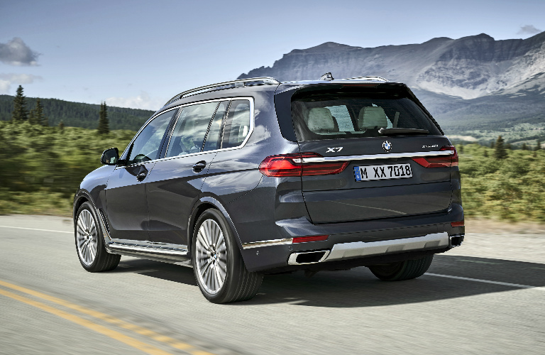 Rear View of Grey 2019 BMW X7