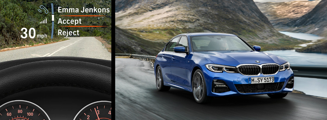 Blue 2019 BMW 3 Series and BMW Head-Up Display