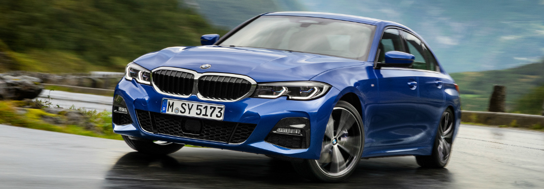 Front View of Blue 2019 BMW 3 Series