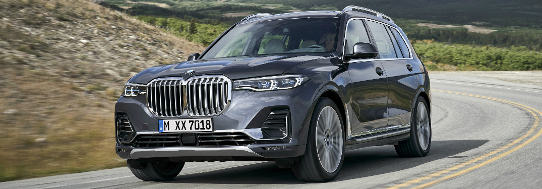 Grey 2019 BMW X7 Driving on a Curvy Road