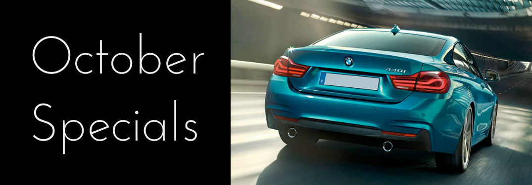 October Specials Title and a Blue 2019 BMW 4 Series