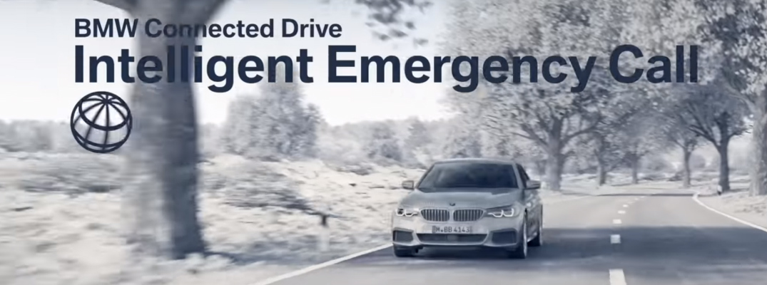 BMW ConnectedDrive Intelligent Emergency Call Title and a BMW Sedan