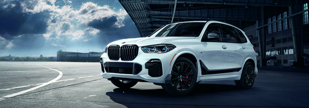 Front View of White 2019 BMW X5 with M Performance Parts