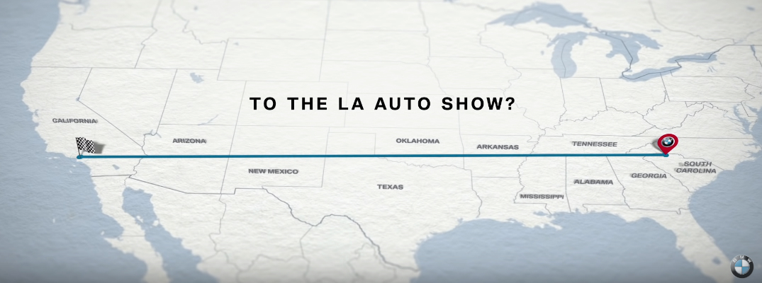 Map of the Itinerary of 2019 BMW X5 Traveling from Spartanburg to the LA Auto Show