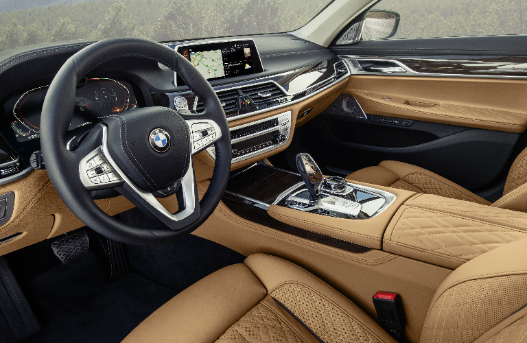 Dashboard and front brown seats in 2020 BMW 7 Series