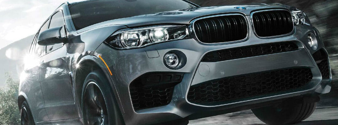 Close-up view of the front of a a grey 2019 BMW X5 M