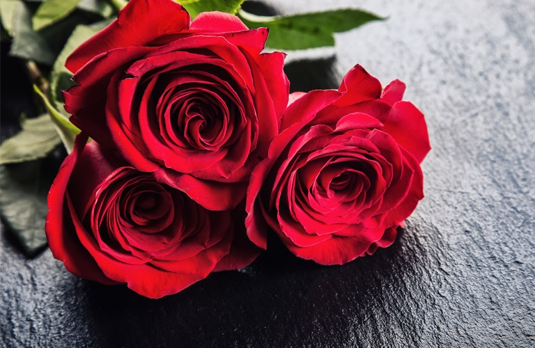 Three red roses on a table