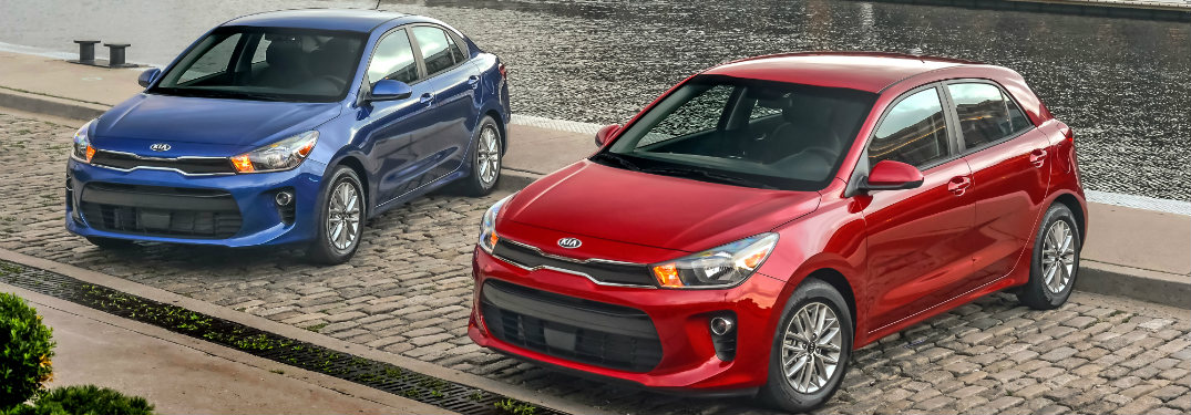 2018 Kia Rio red and blue models