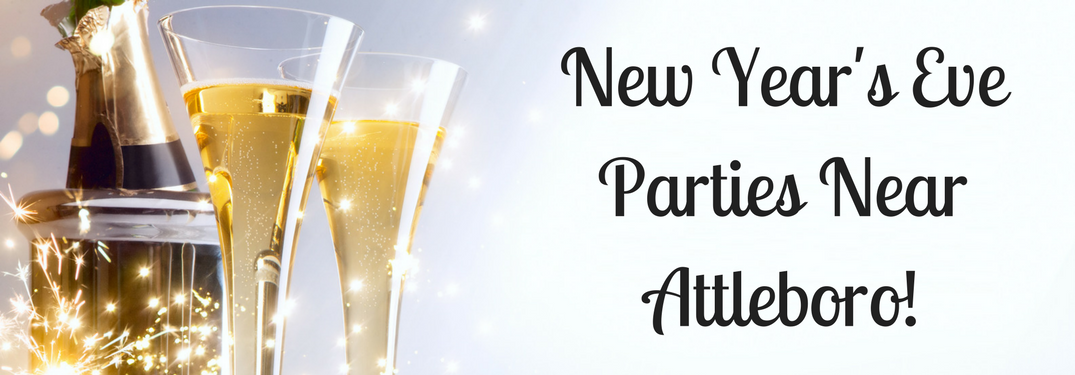 """champagne bottle and glasses with white background with text """"new years eve parties near attleboro"""""""