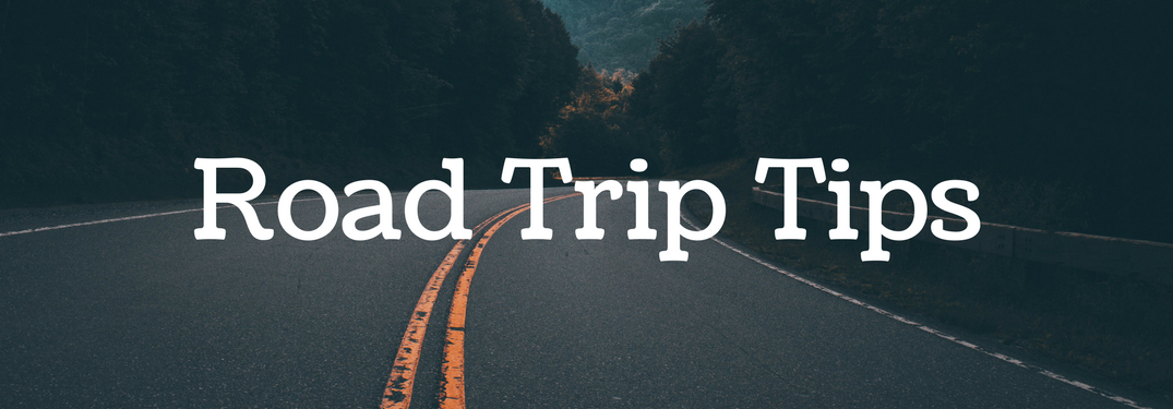 """long empty road surrounded by trees with text """"road trip tips"""""""