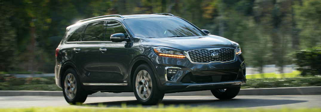 blue 2019 kia sorento driving on road surrounded by grass and trees