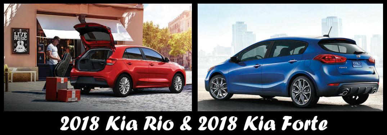 Is the Kia Rio or the Kia Forte more affordable? with image of 2018 Kia Rio 5-Door and 2018 Kia Forte5