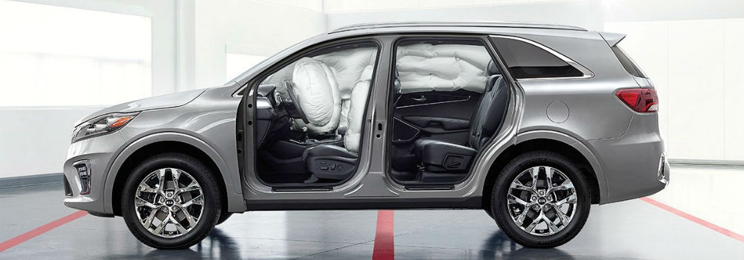 2019 Kia Sorento Wins the Top Safety Pick+ Award with image of Sorento with airbags inflated
