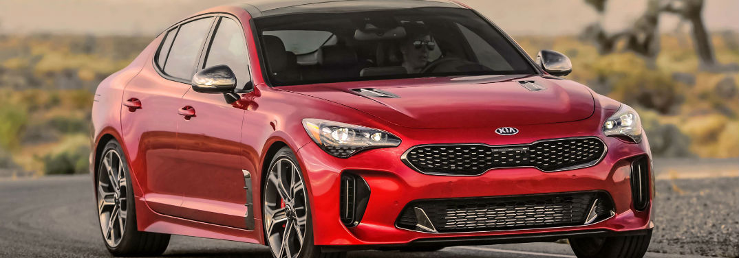 2019 Kia Stinger Performance Specs with image of a 2019 Stinger GT2 RWD in red