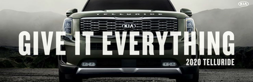 2020 Kia Telluride with text in front of the grille