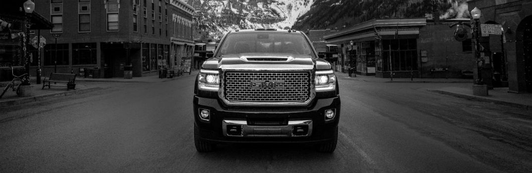 2018 GMC Canyon front exterior in black and white
