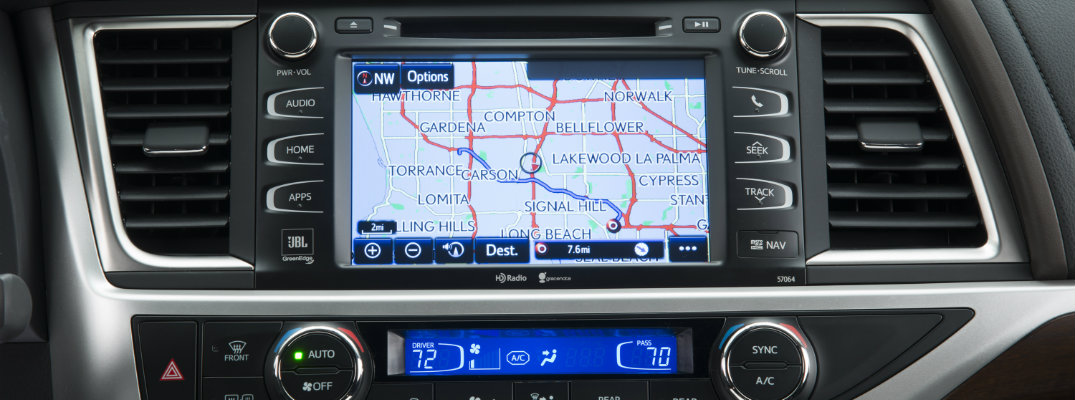 Close-up view of Toyota Entune system with navigation