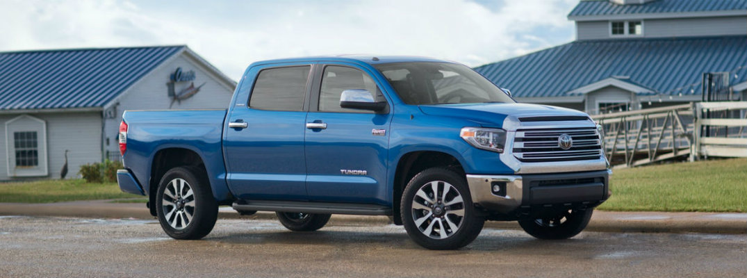 Blue 2018 Toyota Tundra on a farm