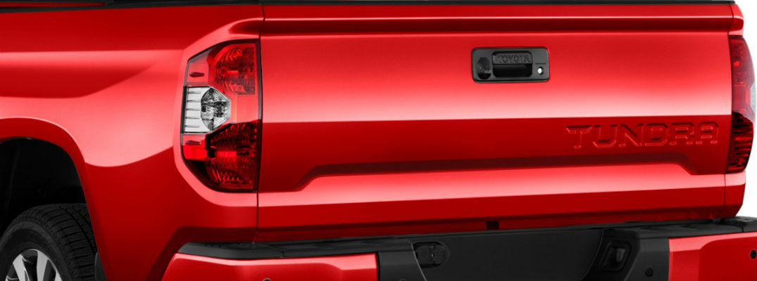 Close-up view of tailgate on red 2018 Toyota Tundra