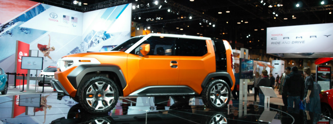 Orange, black, and white Toyota FT-4X Concept on display at the Chicago Auto Show