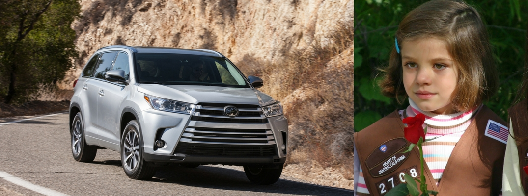 2-photo image featuring a silver-colored 2018 Toyota Highlander and a Brownie Girl Scout