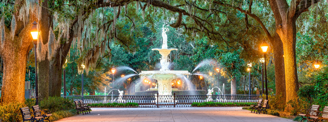 Forsyth Park Fountain in Savannah, GA at dusk