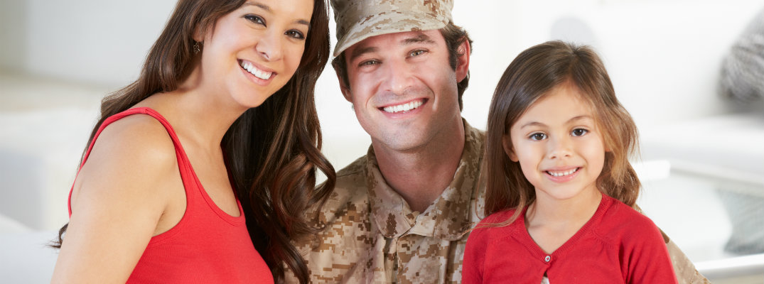 Military family with father in uniform