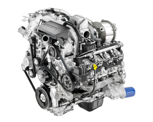 turbo-diesel engine on a while background