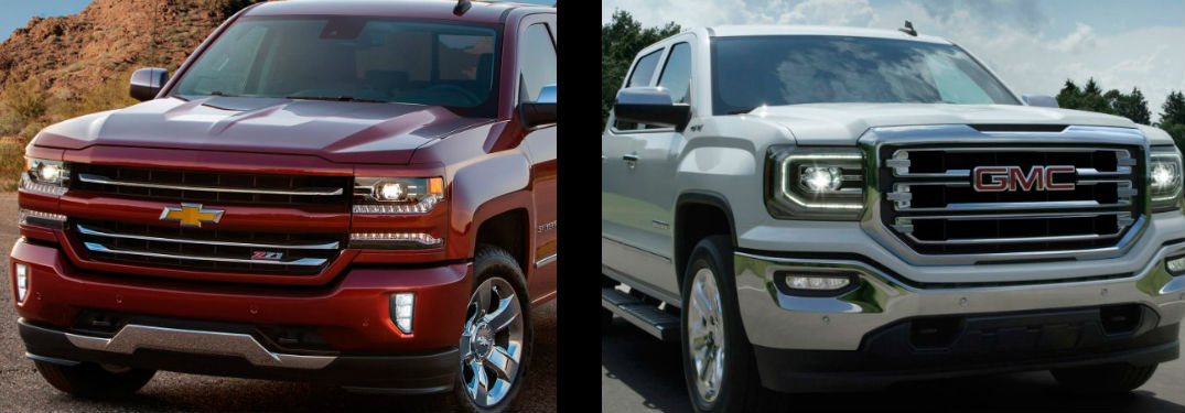 Comparison image showing the grilles of the Chevy Silverado and GMC Sierra