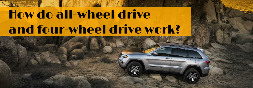 2018 Jeep Grand Cherokee among rocks with the words What is the difference between all-wheel and 4x4 drive?