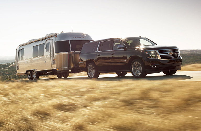 2016 Chevy Suburban towing a trailer